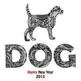 Carte tirée par la main des textes d'animal et de chien Photos libres de droits