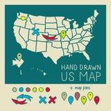 Carte tirée par la main des USA avec des goupilles Photographie stock libre de droits