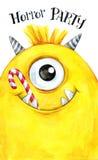 Carte tirée par la main Tête d'aquarelle d'un monstre avec des bonbons dans la bouche Illustration de célébration Partie d'horreu illustration stock
