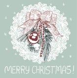 Carte traditionnelle rose bleue de vecteur de Noël de décoration de boule de branche d'arbre illustration de vecteur