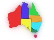 Carte tridimensionnelle de l'Australie illustration stock