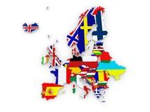 Carte tridimensionnelle de l'Europe. Image libre de droits