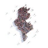Carte Tunisie de forme de groupe de personnes Photographie stock