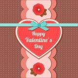 Carte typographique de vacances de jour de valentines rétro Images libres de droits