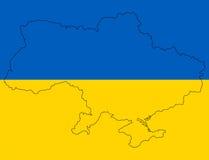 Carte ukrainienne dans le drapeau Photo stock