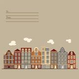 Carte universelle avec de vieux bâtiments européens de style Maisons d'Amsterdam images libres de droits