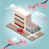 Carte urbaine de landscapecenter de petite ville isométrique avec le bâtiment, la boutique et les routes Plan de ville, architect illustration libre de droits