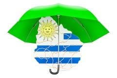 Carte uruguayenne sous le parapluie La sécurité et se protègent ou assurance Photographie stock libre de droits