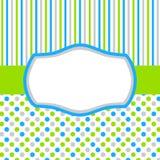 Carte vert-bleu d'invitation avec des points et des rayures de polka Photos libres de droits