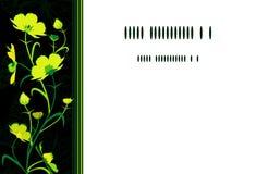 Carte vert jaunâtre de fleurs Image libre de droits