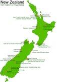 Carte verte de vecteur de la Nouvelle Zélande - attractions du principal 20 Photographie stock libre de droits
