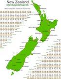 Carte verte de vecteur de la Nouvelle Zélande - piloter des distances Photographie stock