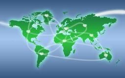 Carte verte du monde avec des connexions de coeur Photo libre de droits