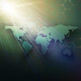 Carte verte du monde, canalisations de raccordement et points sur le fond de couleur foncée illustration de vecteur