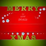 Carte verte et rouge de joyeux Noël Photo stock