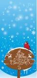 carte verticale avec l'oiseau de bouvreuil et le signe en bois Photographie stock