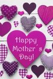 Carte verticale avec la texture de Purple Heart, jour de mères heureux Images libres de droits