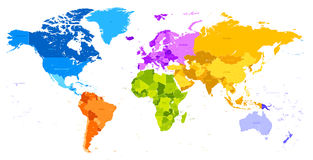 Carte vibrante du monde de couleurs Photographie stock