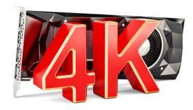 Carte vidéo GPU d'ordinateur avec 4K de haute résolution, rendu 3D illustration libre de droits