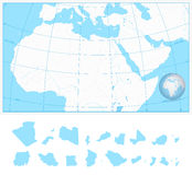 Carte vide d'ensemble de l'Afrique du nord et du Moyen-Orient Photos stock