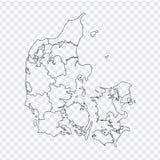 Carte vide Danemark Carte de haute qualité royaume de Danemark avec des provinces sur le fond transparent pour votre conception d illustration de vecteur