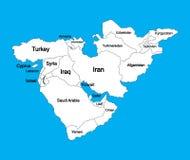 Carte vide Editable de vecteur de Moyen-Orient, d'isolement sur le fond illustration libre de droits