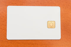 Carte vierge d'identification de blanc avec la puce photo stock