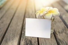 Carte vierge de livre blanc avec la belle fleur de Plumeria en verre sur le plancher en bois, photographie stock libre de droits