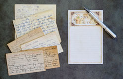 Carte vierge de recette, stylo, recettes de vintage photographie stock