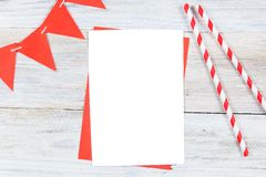 Carte vierge Te de maquette, d'anniversaire ou de partie d'invitation de carte de voeux Image libre de droits