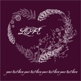 Carte violette de valentine avec le coeur floral Photographie stock