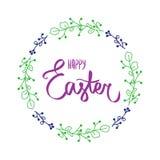 Carte violette foncée avec le signe heureux doux de Pâques dans la couleur violette foncée avec le cadre Frontière violette de ce illustration stock