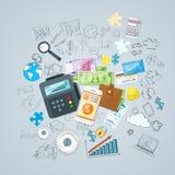 Carteira ajustada opções dos carros do crédito do dinheiro do telefone do pagamento ilustração stock