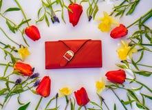 Carteira com as tulipas no fundo branco foto de stock royalty free