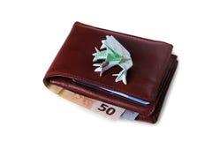 Carteira com contas do Euro e centenas de sapo dos euro Foto de Stock Royalty Free