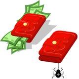 Carteira com dinheiro ilustração royalty free
