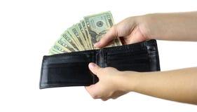 Carteira com dinheiro Imagens de Stock