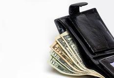 Carteira com dinheiro fotografia de stock royalty free