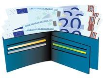 Carteira com euro- contas Fotos de Stock Royalty Free