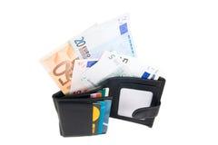 Carteira com euro e cartão Fotografia de Stock