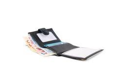 Carteira com euro e cartão Foto de Stock Royalty Free