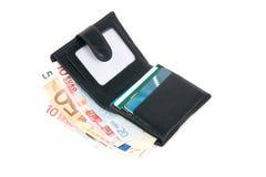 Carteira com euro e cartão Fotografia de Stock Royalty Free