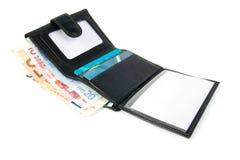Carteira com euro e cartão Foto de Stock