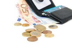 Carteira com euro e cartão Fotos de Stock Royalty Free
