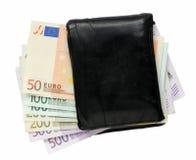 Carteira com euro- notas Foto de Stock