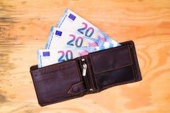 Carteira com euro- notas de banco Fotografia de Stock