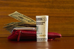 Carteira com moeda americana Imagens de Stock