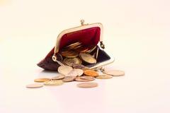 Carteira com moedas Foto de Stock Royalty Free