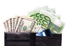 Carteira com notas de banco e cartões de crédito Foto de Stock Royalty Free