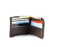 Carteira com o cartão do dinheiro e de banco Fotografia de Stock